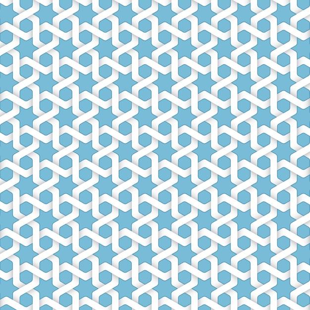 Vector abstract geometrischen islamischen hintergrund. basierend auf ethnischen muslimischen ornamenten. verflochtene papierstreifen. eleganter hintergrund für karten, einladungen etc. Kostenlosen Vektoren