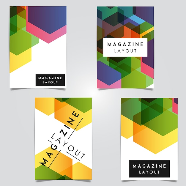 Vector Abstract Magazin Layout-Vorlagen-Designs Kostenlose Vektoren