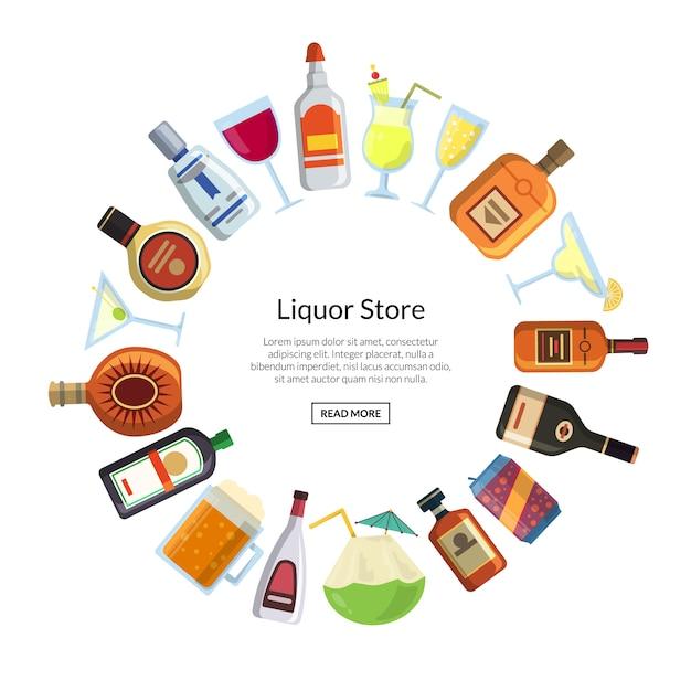 Vector alkoholische getränke in den gläsern und in den flaschen in der kreisform mit platz für text in der mittelillustration Premium Vektoren