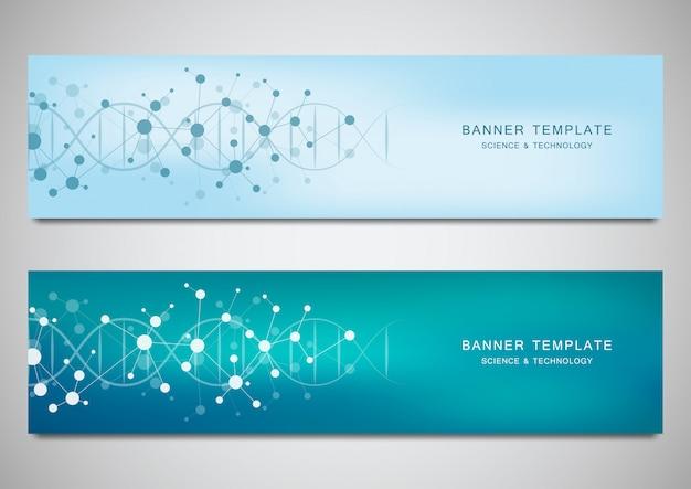 Vector banner und header für website mit dna-strang und molekülstruktur Premium Vektoren
