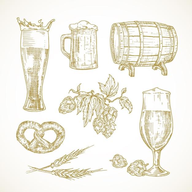 Vector beer sketches set. handgezeichnete illustrationen von gläsern Premium Vektoren