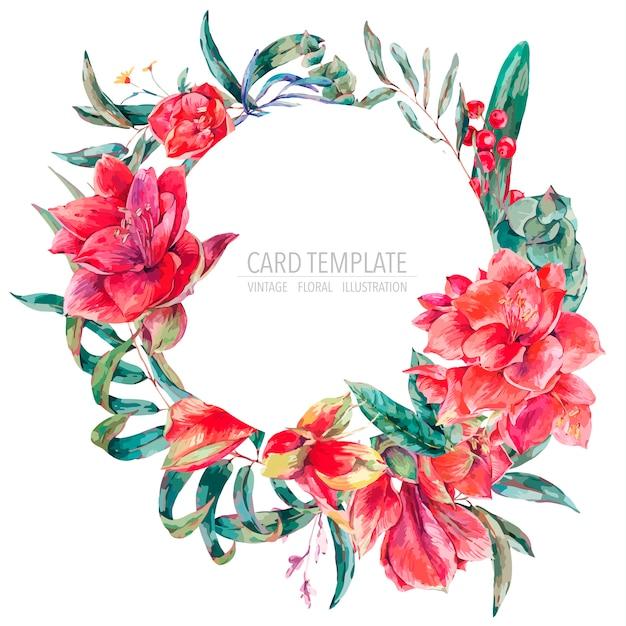 Vector blumenschablonenkarte von roten blumen, von amaryllis, von eukalyptus, von tropischen blättern und von succulents, runder rahmen der botanischen natürlichen weinlese Premium Vektoren