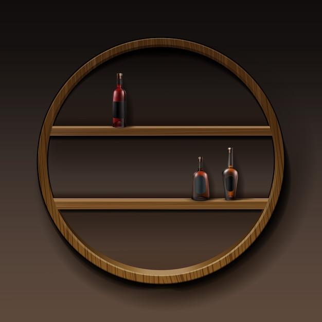 Vector braune runde hölzerne regale mit flaschen des alkohols lokalisiert auf dunklem hintergrund Kostenlosen Vektoren
