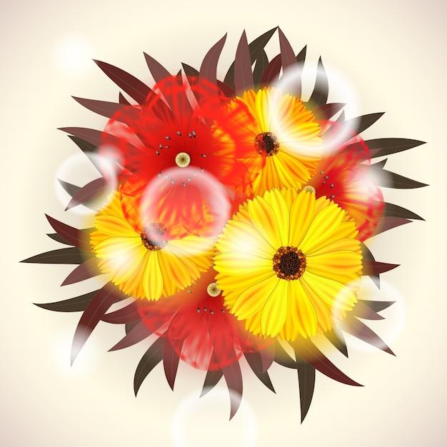 Vector bright bouquet von roten und gelben blumen Kostenlosen Vektoren