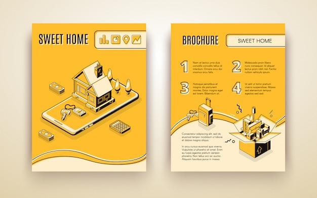 Vector broschürenschablone mit dem isometrischen haus 3d, das - bewegen durch intelligente technologien umzieht Kostenlosen Vektoren