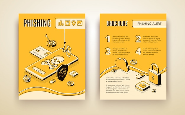 Vector broschürenschablone mit isometrischem phishing-alarmkonzept 3d Kostenlosen Vektoren