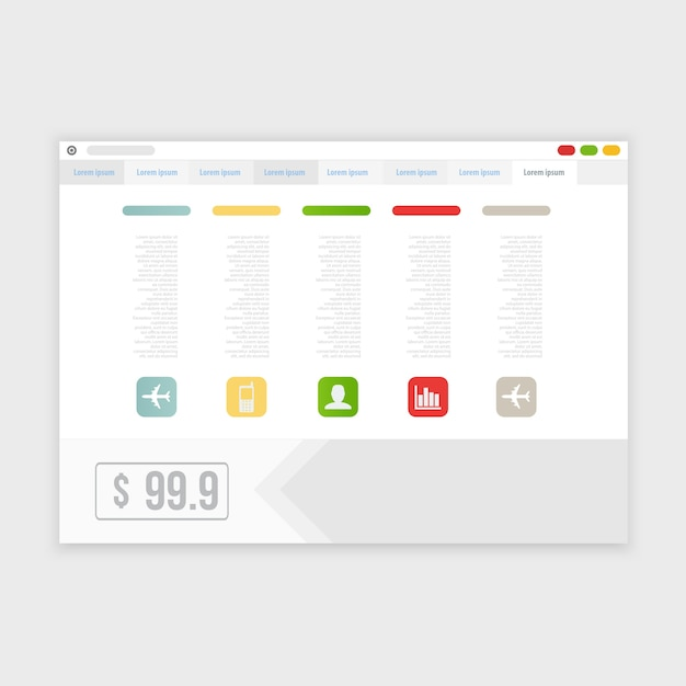 Vector browser design mit reaktionsfähiger website Kostenlosen Vektoren