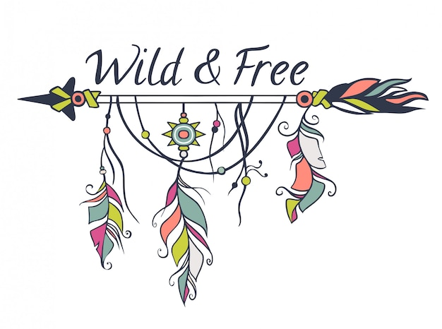 Vector bunte illustration mit ethnischen pfeilen, federn und stammes- elementen. boho und hippie stil. indianische motive Premium Vektoren
