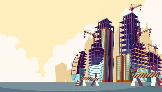 Vector cartoon illustration der prozess der bau von gebäuden Kostenlosen Vektoren
