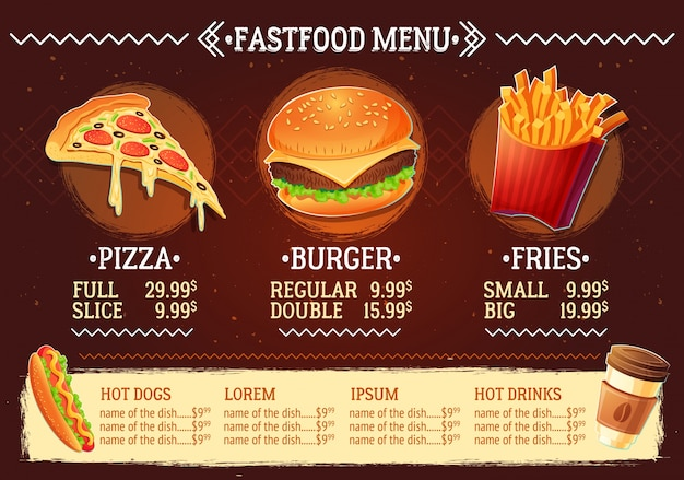 Vector cartoon illustration eines design-fast-food-restaurant-menü Kostenlosen Vektoren