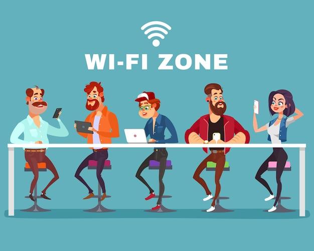 Vector Cartoon Illustration von Männern und eine Frau in der Wi-Fi-Zone Kostenlose Vektoren
