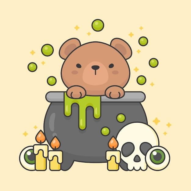 Vector charakter des netten bären in einem gifttopf mit dem schädel und den kerzen Premium Vektoren