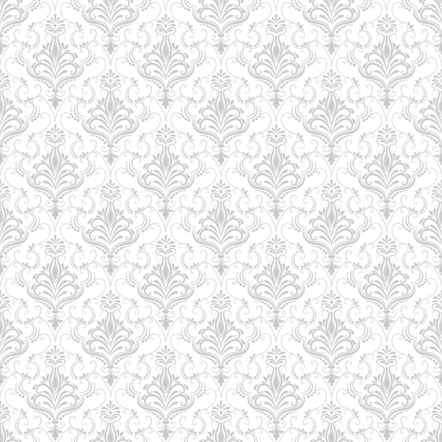 Vector Damast nahtlose Muster Hintergrund. Klassische Luxus altmodische Damast Ornament, royal victorian nahtlose Textur für Tapeten, Textil, Verpackung. Exquisite Blumen-Barock-Vorlage. Kostenlose Vektoren
