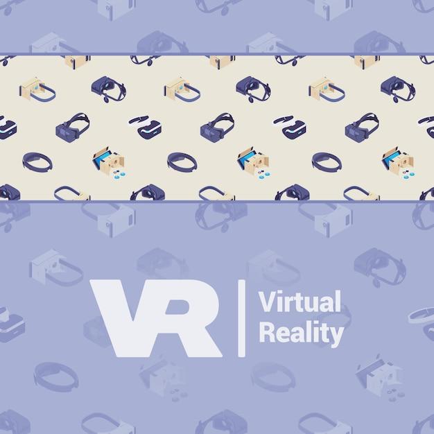 Vector das verzierungsdesign, das von den isometrischen kopfhörern der virtuellen realität gemacht wird Premium Vektoren