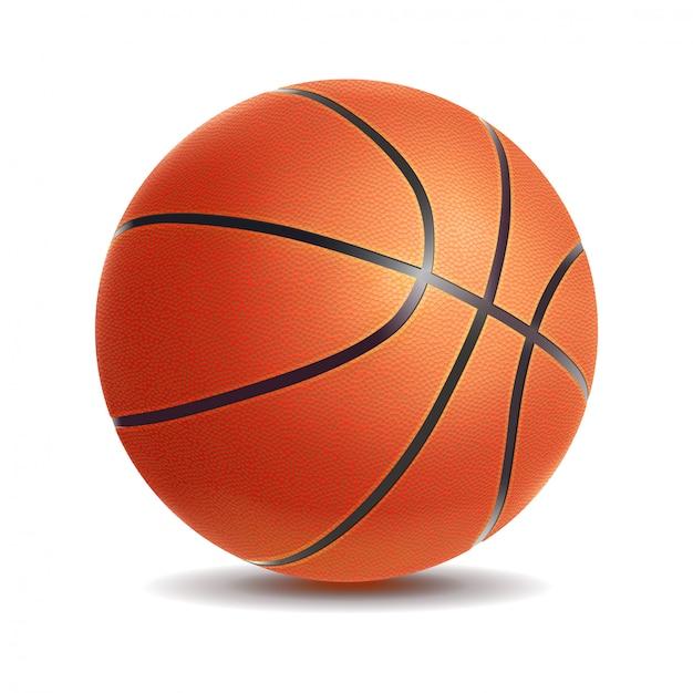 Vector den realistischen basketballball, der auf einem weißen hintergrund lokalisiert wird Premium Vektoren