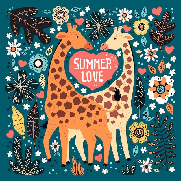 Vector die flache hand gezeichneten giraffen, die durch tropische anlagen und blumen umgeben werden. Premium Vektoren