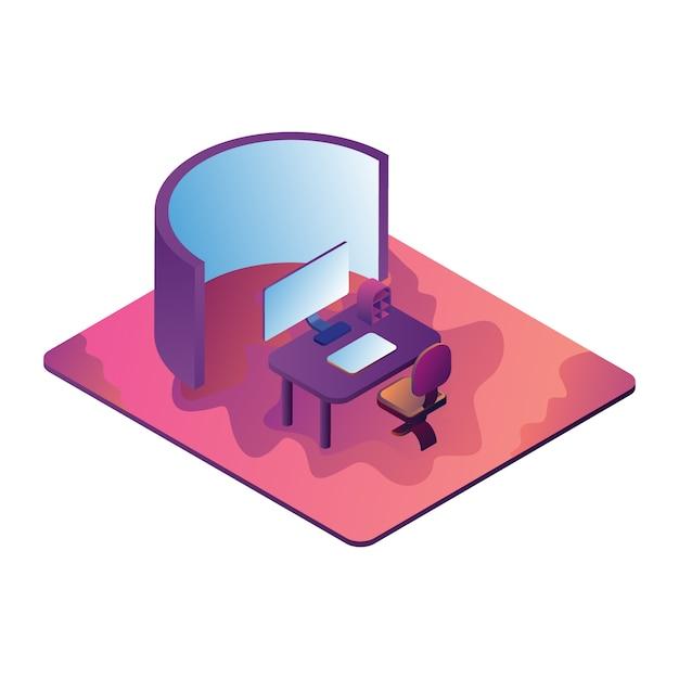 Vector die isometrische illustration, die it-büro mit einem bildschirm und einem bildschirm darstellt Premium Vektoren