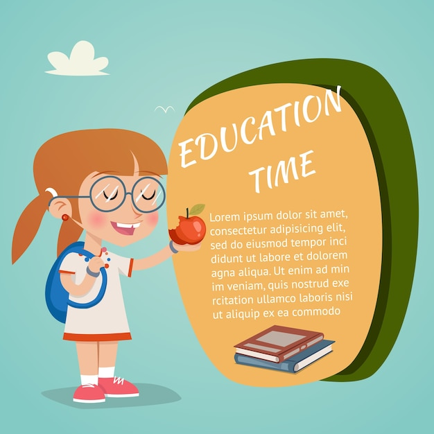 Vector education zeitkonzept mit happy girl holding red apple Kostenlosen Vektoren