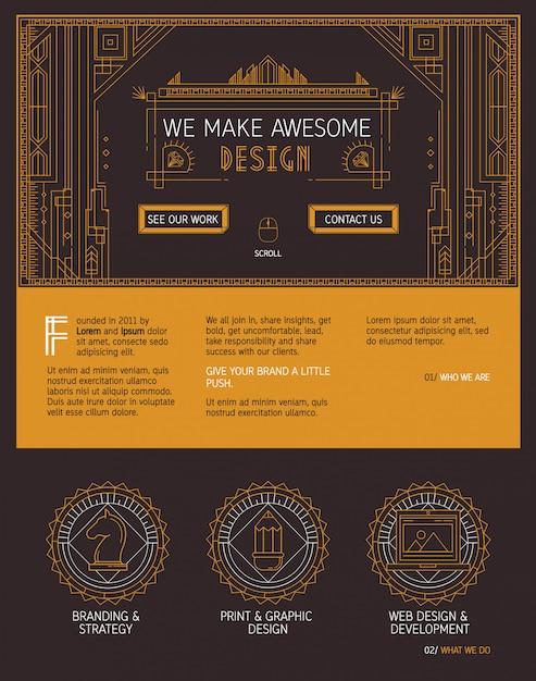 Vector eine seitenwebsiteschablone im art deco stil. Premium Vektoren