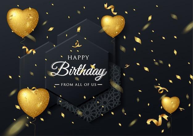 Vector elegante grußkarte des geburtstages mit goldballonen und fallenden konfettis Premium Vektoren