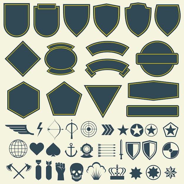 Vector elemente für militär, armeepatches, die eingestellten abzeichen Premium Vektoren