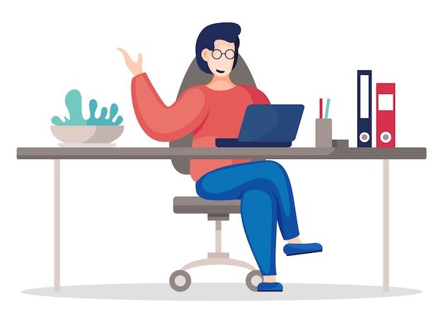 Vector flache illustration der geschäftsperson, die am tisch im büro sitzt und arbeitet. Premium Vektoren
