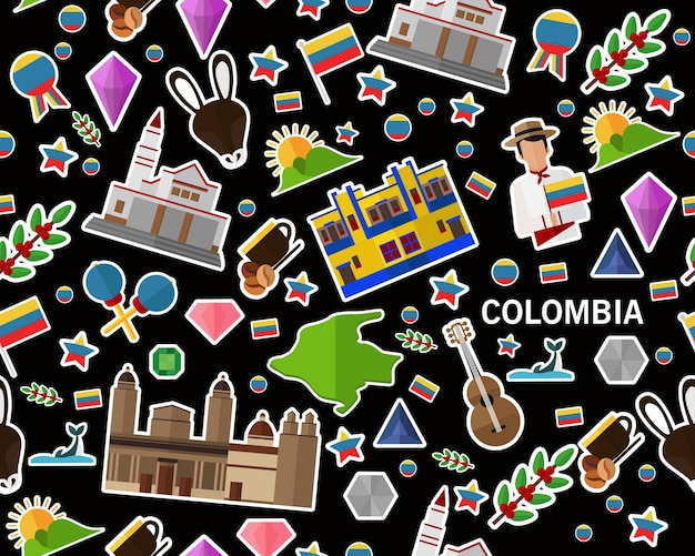 Vector flaches nahtloses beschaffenheitsmuster kolumbien Premium Vektoren