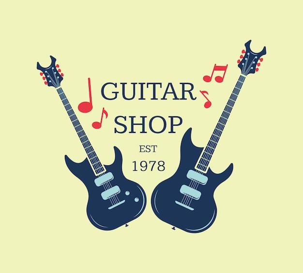 Vector gitarrenladenlogo, emblem mit musikalischen anmerkungen. musikalische ladenzeichenabbildung Premium Vektoren