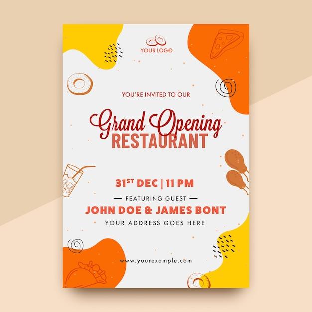Vector grand opening einladung oder flyer design mit event details für restaurant Premium Vektoren