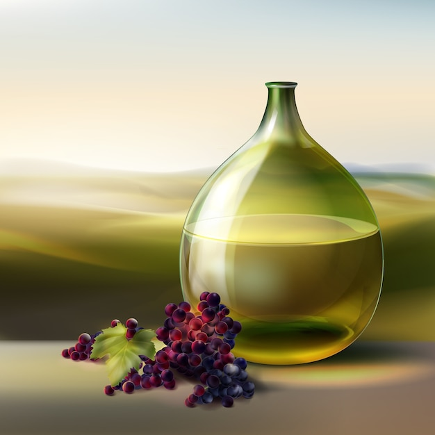 Vector grüne runde flasche weißwein und rote trauben lokalisiert auf hintergrund mit tal Kostenlosen Vektoren