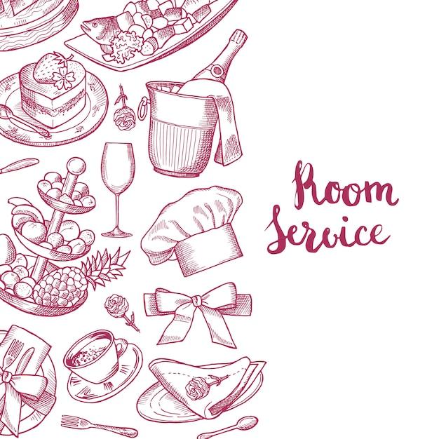 Vector hand gezeichneten restaurant- oder zimmerservice-elementhintergrund mit platz für textillustration Premium Vektoren