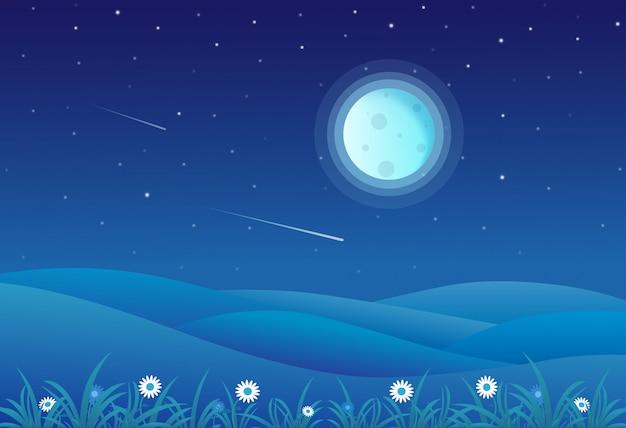 Vector illustration der nachtzeithügellandschaft mit vollmond und einem sternenklaren himmel Premium Vektoren