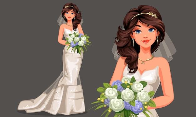 Vector illustration der schönen braut in einem schönen weißen hochzeitskleid, das blumenstrauß in stehender haltung hält Premium Vektoren