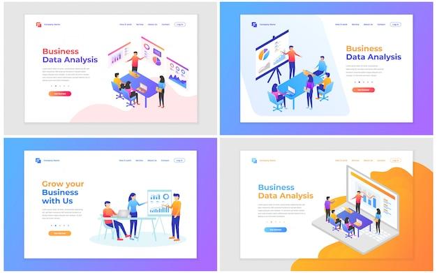Vector illustration der teamwork, der unternehmensanalyse und der strategie. satz moderne vektorillustrationskonzepte für website und bewegliche websiteentwicklung. Premium Vektoren