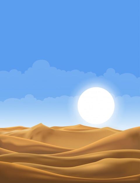Vector illustration der wüstenpanoramalandschaft mit sanddünen am sehr heißen sommer des sonnigen tages Premium Vektoren