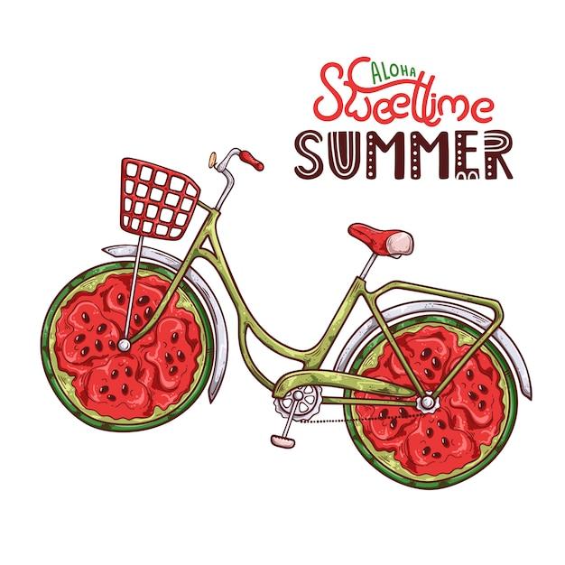 Vector illustration des fahrrades mit wassermelone anstelle der räder. Premium Vektoren