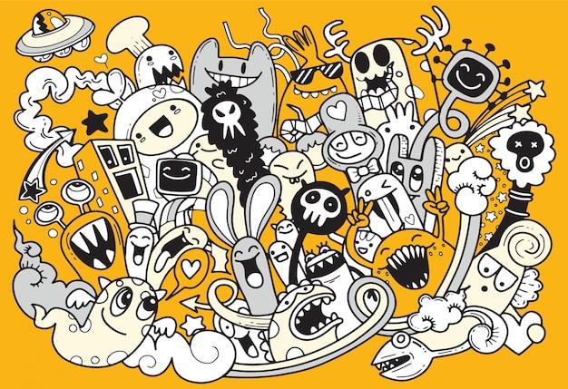 Vector illustration des netten monsters des gekritzels, karikaturart Premium Vektoren