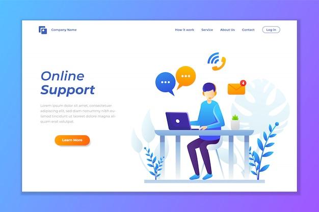 Vector illustration des online-supports oder kontaktieren sie den support Premium Vektoren