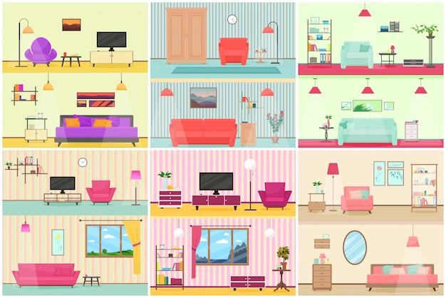 Vector illustration des verschiedenen flachen karikaturinnenraums des wohnzimmers. Premium Vektoren