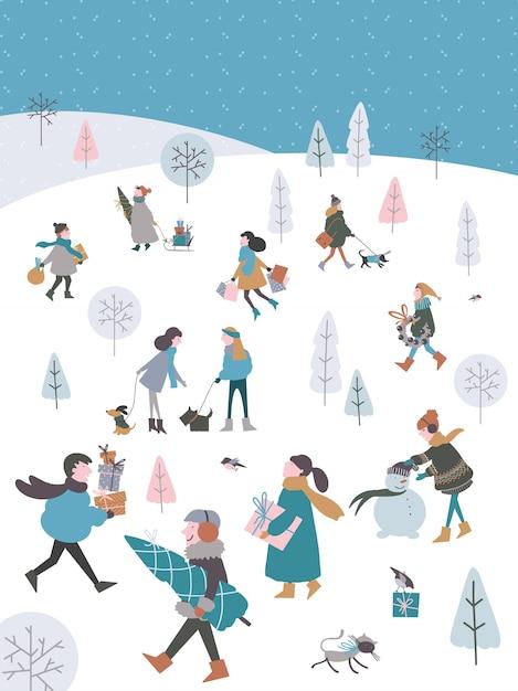 Vector illustration des winters draußen mit weihnachtsleuten Premium Vektoren