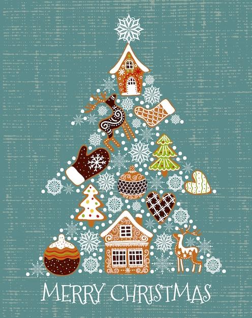 Vector illustration eines weihnachtsbaums geformten lebkuchen und der schneeflocken. Premium Vektoren