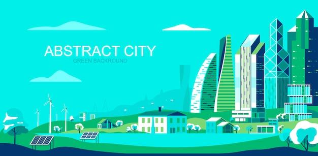 Vector illustration in der einfachen flachen art - nachhaltige stadtlandschaft mit umweltfreundlichen technologien Premium Vektoren