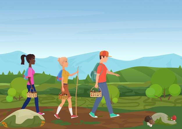 Vector illustration von den glücklichen freunden, die in natur gehen und die pilze auswählen. Premium Vektoren