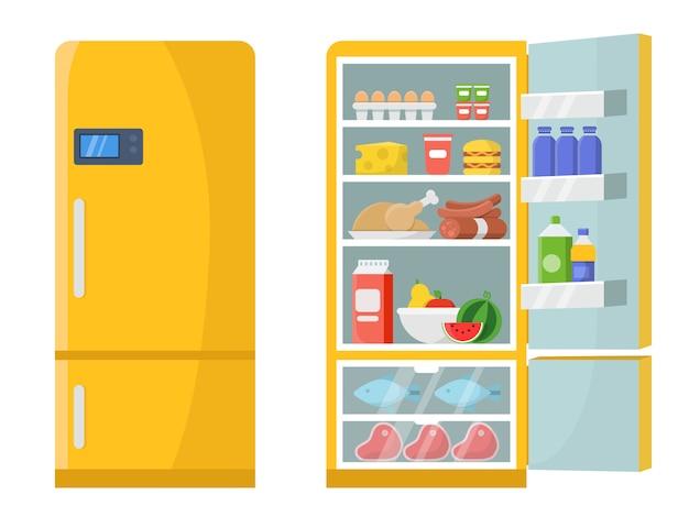 Vector illustrationen des leeren und geschlossenen kühlschranks mit unterschiedlichem gesundem lebensmittel Premium Vektoren