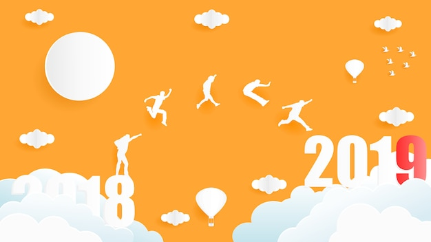 Vector illustrationsgrafikdesign der gruppe von personen, die von jahr 2018 bis jahr 2019 springen. Premium Vektoren