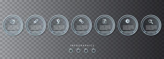 Vector infografik design ui vorlage transparente glasetiketten und symbole. ideal für das layout und das prozessdiagramm des banner-workflows für die präsentation von geschäftskonzepten. Premium Vektoren
