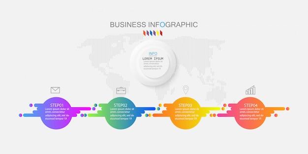 Vector infographic diagramm, geschäftskonzept mit 4 wahlen. Premium Vektoren