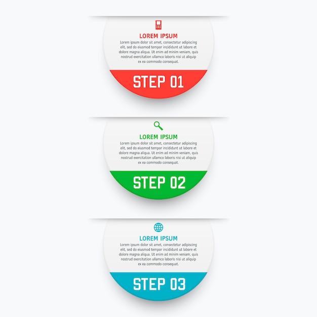 Vector infographics schablone mit drei wahlen in der materiellen designart. Premium Vektoren