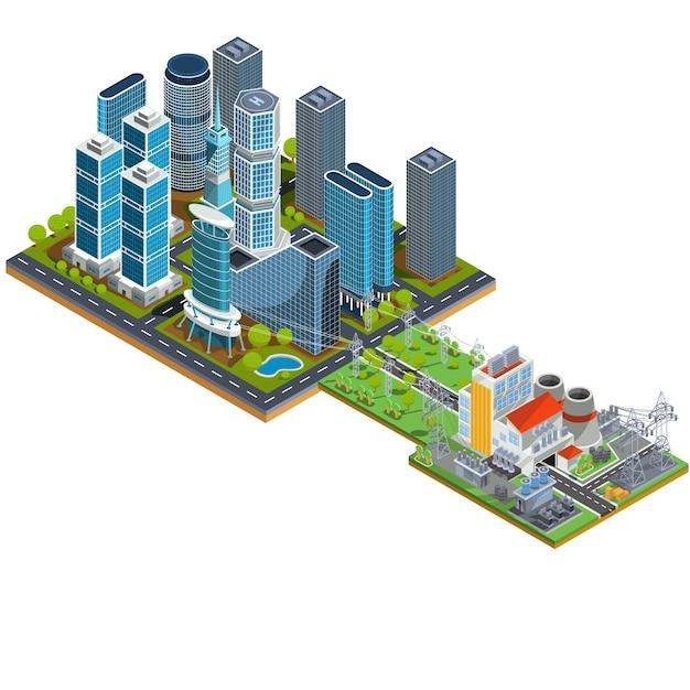 Vector isometrische 3d-illustrationen des modernen stadtviertels mit wolkenkratzern und einem nahe gelegenen kraftwerk Kostenlosen Vektoren