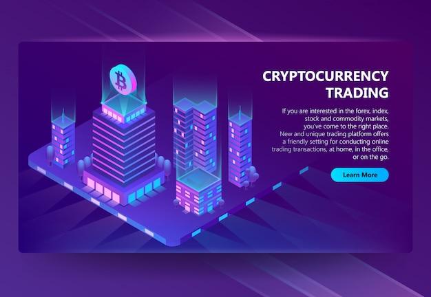Vector isometrische 3d-website für den handel mit kryptowährung Kostenlosen Vektoren